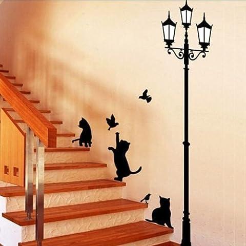 23x40CM gato l‡mpara de pared pegatinas Inicio Escaleras etiqueta engomada de la decoraci—n del papel pintado decorativo