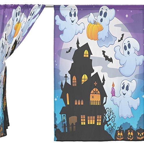 jstel 2Pcs Voile Fenster Vorhang, Happy Halloween Ghost Spooky Cute Friedhof Fledermaus Kürbis Hexe Spinnennetz, Tüll Sheer Vorhang Tuch Querbehang 139,7x 198,1cm Zwei scheibenelementen Set, Polyester, blau, 55x84x2(in) (Kürbis Twinkle)