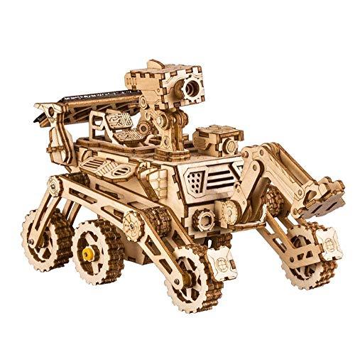 ZLD Spielzeug 3D-Puzzle, Mondauto-Modell, Solar Strom, Holzhandwerk, Holz Puzzle, Handgefertigte Geschenke, Dekorationen, Minimalistischer Stil