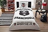 Fanartikel Besiktas Sampiyonluk Jugendbettwäsche Einzelbett Bettwäsche Bettdeckenbezug(160x220cm), Bettwäsche 100% Baumwolle mit Bettbezug, Spannbettlacke(100x200cm) und Kissenbezug(50x70cm)Made in der Türkei
