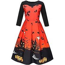 Yvelands Vestido de Halloween de Las Mujeres, Vestido de Fiesta Ocasional del oscilación Puffy del