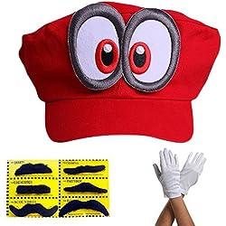 Super Mario Beanie ODYSSEY ROJO con ojos completo SET con guantes y 6x Barbas adhesivas para para adultos y niñoss y niños Disfraz de Carnival Carnival Disfraz Beanies Hat Cap Mens Womens Cap