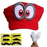 Super Mario Mütze ODYSSEY ROT mit Augen Komplett SET mit Handschuhe und 6x Klebe-Bärte für Erwachsene und Kinder Karneval Fasching Verkleidung Kostüm Mützen Hut Cap Herren Damen Kappe