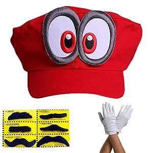 Super Mario Beanie ODYSSEY ROUGE avec Yeux Ensemble complet avec des gants et 6x Barbes Adhésives pour Pour les adultes et les enfantses Carnaval Carnaval Déguisement Costume Bonnets Chapeau Casquette Hommes Femmes