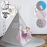 Teepee pour Enfant - avec Fond, Fenêtre, Porte, 110x110x162cm, 100% Coton, Design au...