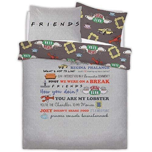 Friends TV Series - Juego de funda de edredón y fundas de almohada, diseño de citas de Slogan Doublé