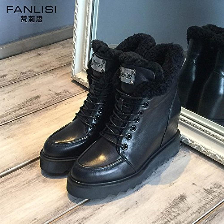 SHOESHAOGE Zapatos De Mujer Otoño Invierno Botas Femeninas En El Aumento Inferior Grueso Cashmere Martin Botas...