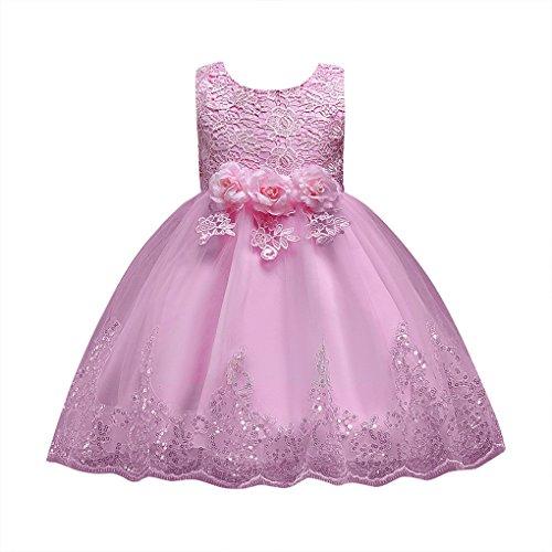 (JYJM Floral Baby Mädchen Prinzessin Brautjungfer Festzug Kleid Geburtstag Party Hochzeitskleid Ärmelloses Schmetterlings-Spitzenkleid Mesh-Tutu-Kleid (110, Rosa))