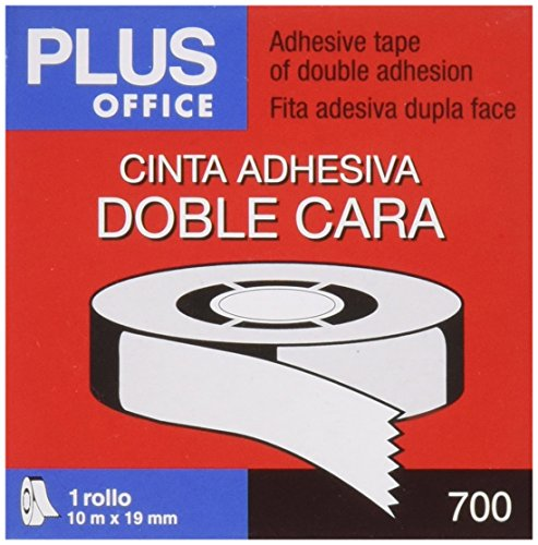 Plus Office 63Q - Nastro biadesivo, 18 mm x 10 m, crema