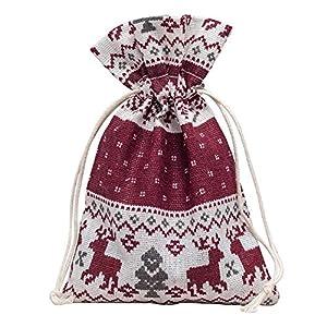 10 Stück Hochwertige Baumwoll Säckchen Beutel Beutelchen Schmuckbeutel Weihnachtsmotiv Weihnachten für Schmuck Geschenk