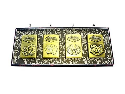 Lot de 6 - Briquet à essence métal `Poker` modèles assortis - Qualité COOLMINIPRIX®