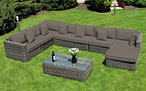 Baidani Garten Lounge Garnitur Rundrattan, Perfection Select, taupe, 385 x 245 x 68 cm, 13a00005.00005