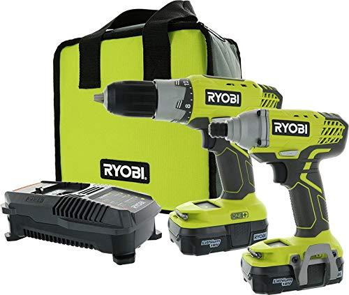 Ryobi P882 One+ 18v Lithium-Ion Drill and Impact Driver Kit by Ryobi -