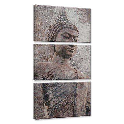 Feeby. Cuadro en lienzo - 3 partes - Cuadros decoración, Imagen impresa en lienzo, Canvas, 60x120 cm, BUDA, RELIGIÓN, CULTURA, MARRÓN