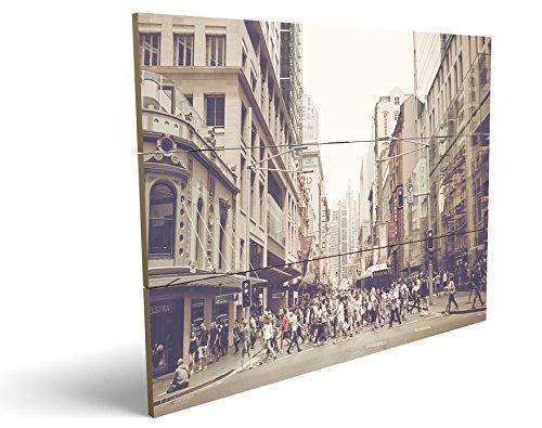 City Life, qualitatives MDF-Holzbild im Drei-Brett-Design mit hochwertigem und ökologischem UV-Druck Format: 100x70cm, hervorragend als Wanddekoration für Ihr Büro oder Zimmer, ein Hingucker, kein Leinwand-Bild oder Gemälde