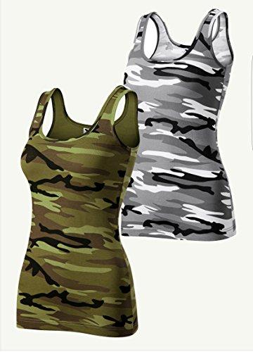 2er pack Camouflage Damen T-Shirt Tanktop (Grau Grün, Large)