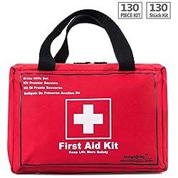 Botiquín de Primeros Auxilios de 130 Artículos Kit Supervivencia Para el Coche, Hogar, Camping, Caza, Viajes, Aire Libre o Deportes, Pequeño Y Compacto - By EnergeticSky™