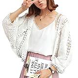 Blanc Blouse Tunique Shirt Top Chemise Longue 3/4 Manches Cardigan Dentelle Courte