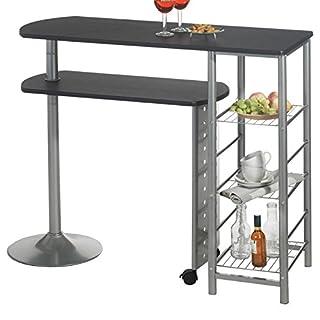 IDIMEX Table Haute de Bar JOSUA Mange-Debout comptoir avec Plateau Mobile et 3 étagères, Structure en métal laqué Couleur Aluminium et Table en MDF décor Noir Mat