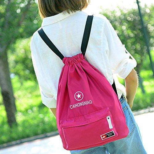 Imagen de  de cuerda para mujer, begreat bolsa plegable de tela, bolsa de ocio y de aptitude, para aire libre, viajes, escuela  rosa alternativa