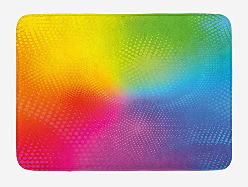 NasNew Rainbow Bath Mat, Vibrant Neon Colors Circles Rounds Dots Radiant Composition Iridescent Effect Print, Plush Bathroom Decor Mat with Non Slip Backing, 23.6 L X 15.7 W Inches, Multicolor