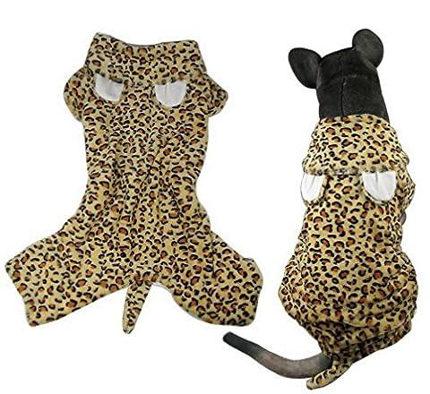 ranphy Puppy Medium Hund Leopard Outfits Hoodies Haustier Hund Kostüm vierbeinigen Wolle Jumpsuit Chihuahua