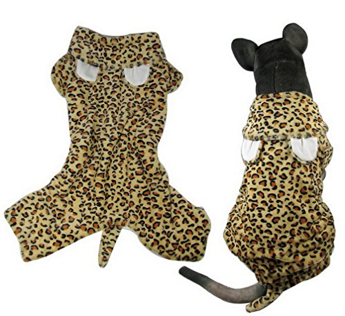 ranphy Puppy Medium Hund Leopard Outfits Hoodies Haustier Hund Kostüm vierbeinigen Wolle Jumpsuit Chihuahua (Designer Kostüm Horror Film)