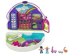 Polly Pocket Cofre Colgante Polly con Shani en forma de arcoiris, muñeca con accesorios (Mattel GKJ65)