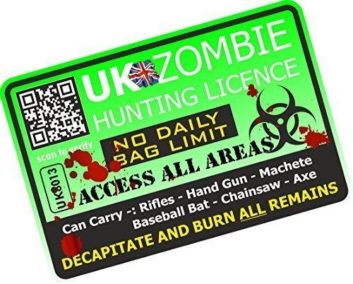 Sticar-it Ltd Zombie Hunter Lizenz Zulassung Neuheit Lustig Apokalypse Vinyl Autosticker Aufkleber 125x85mm ca. Grün (Zombie-apokalypse-aufkleber)
