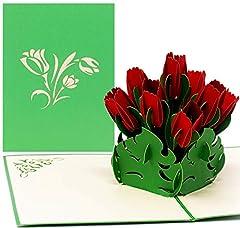 Idea Regalo - Biglietto tridimensionale pop-up con 9 tulipani rossi, biglietto di ringraziamento, biglietto d'amore, biglietto di auguri per la festa della mamma, biglietto di San Valentino