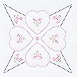 Jack Dempsey Stamped White Quilt Blocks, Four Hearts (confezione da 6)