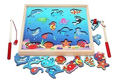 Toys of Wood Oxford Juego de Pesca de Madera - Juego de Pesca de acertijo magnético, Piezas de pez de Juguete - Juego de Mesa de pez de Madera para niños de 3 años de Toys of Wood Oxford
