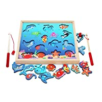 TOWO Wooden Fishing Game-Magnetic Fishing Puzzles with Numbers Jigsaw Puzzle- Sea Creatures Kids Fishing Game Educational Toys for 3 years old