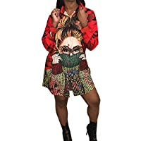 Goocheer Women Long Sleeve Graphic Sequin Casual Tee Shirt Dress Loose Dashiki Button Down Blouse (Red,XL)