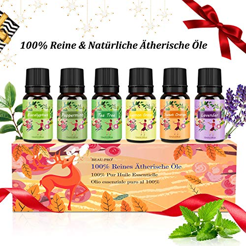 Aromatherapie Ätherische Öle Geschenkset für Diffuser - 100% Pure Aroma Duftöle - Teebaumsöl, Lavendelöl,Pfefferminzöl, Eukalyptusöl, Zitronengrasöl, Süßorangeöl - Therapeutic-Grade Essential Oils - Massage-geschenk-box