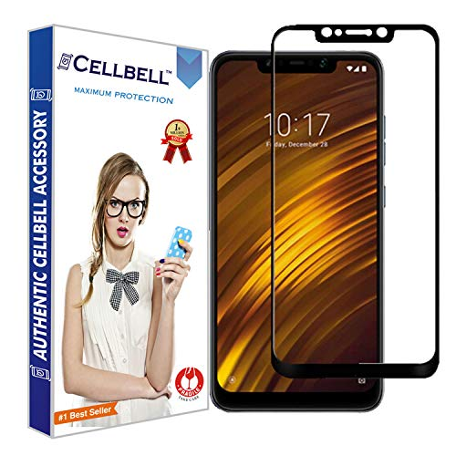 CELLBELL® Xiaomi Poco F1(Full Glue)(Edge to Edge)(Black) Tempered Glass Screen Protector with Installation Kit