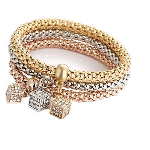 Qiuday 18K Gold Plattiert Armband für Frauen, 3A Zirkonia Armkette Armreif Armbänder Damen, Hohl Gold Armreif Damen Armband Gold Silber Rose Gold Strass Armreif Schmuck Set (White 14k Halskette Für Männer Gold)
