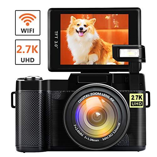 Digitalkamera Vlogging Kamera mit WiFi 2.7K Ultra HD 24MP 3.0 Zoll Flip Screen YouTube Kamera einziehbare Taschenlampe