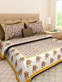 Jaipuri Style Cotton Double bedsheet with 2 Pillow Covers - King Size, Multi