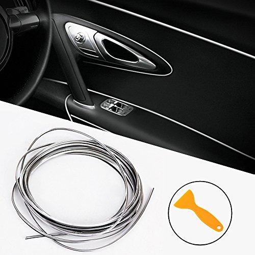 Auto Innen Zierleisten,5M DIY Auto Zierleiste Chrom Zierleisten Trim Zierleisten-Aufklebe Flexible Streifen Line für Autos, Motoren, den Innen- und Außenbereich