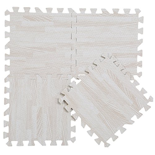 9 tlg Puzzlematte EVA Bodenmatte Kinderteppich Schutzmatte Schaum Teppiche für Wohnzimmer Schlafzimmer Kücher Kinderspielzimmer (Weiß) (Schaum-bad-matte)