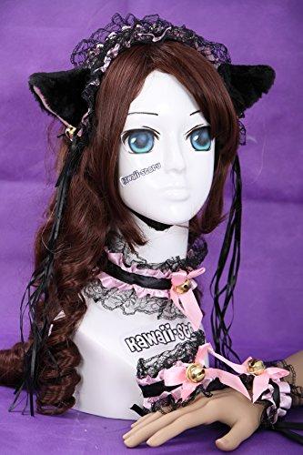 C-07 schwarz rosa Gothic Lolita Maid Katzen Ohren Cat Ear Haarband Halsband Armband Set Cosplay (Cosplay Set)