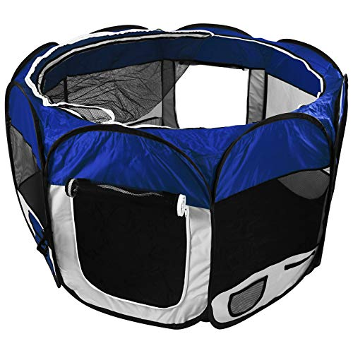 Welpenlaufstall mit Farbwahl für Tiere Tierlaufstall faltbar Laufstall Hunde Katzen Welpenauslauf (Blau)