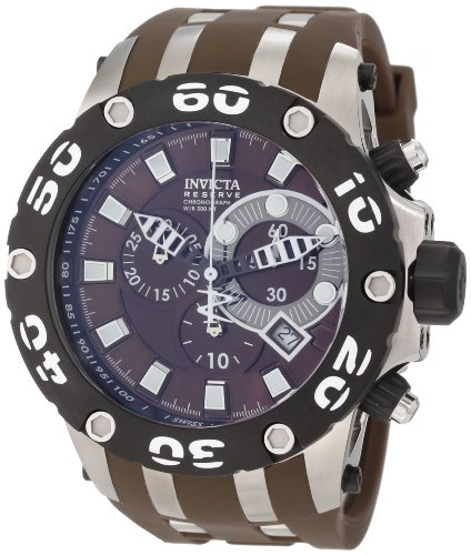 Invicta Men's 51mm Brown Polyurethane Band Steel Case Flame-Fusion Crystal Swiss Quartz Watch 0907