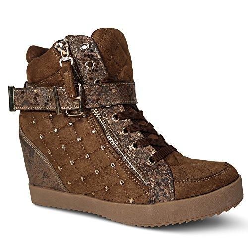 Damen Sneakers Keilabsatz Nieten Glitzer High Top Wedge ST622 Camel