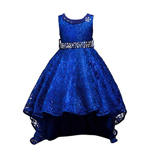 Firally vestito da smoking da donna senza maniche in pizzo,bambini carnevale festa cerimonia nozze sera carnevale ragazze abiti vestito(150,blu scuro)