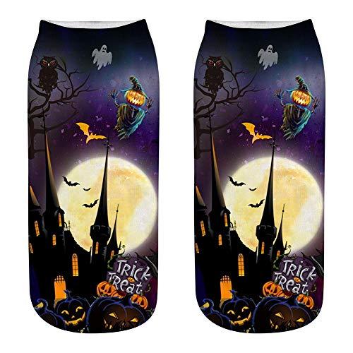 (SinceY 1 Paar Damen Socken 3D Druck Socken Damen Fantasie eine Größe Ideen, Halloween Warm Horror Burg Licht Kürbis Geschenk Geburtstag Weihnachten Halloween Wsj18)