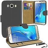 Samsung Galaxy J5-PREMIUM Leder Book Wallet Schutzhülle Tasche + Displayschutzfolie mit Mikrofaser Reinigungstuch + TouchScreen Eingabestift, Leder, schwarz, Einheitsgröße