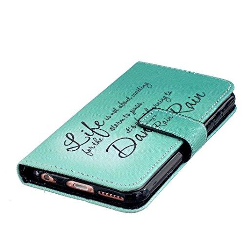 OuDu Klapp Schutzhülle für iPhone 6/6S PU Leder Hülle Mappen Kasten Brieftasche Etui Folio Holster Flip Wallet Case Cover Bookstyle Handyhülle Weiche Flexible Schale Glatte Schlanke Tasche Einzigartig Grünes Leben
