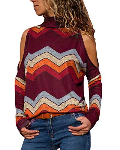 YOINS Sexy Schulterfrei Oberteil Damen Shirt Off Shoulder Top Pullover Damen Rollkragen Langarm Gestreift Pulli Lose Tshirt Hemd RotweinEU36-38  (Herstellergröße:M)